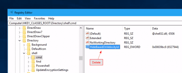 "Registry delete HideBasedOnVelocityId 600x241 - How to Bring ""Open Command Window here"" Option Back in Windows 10"