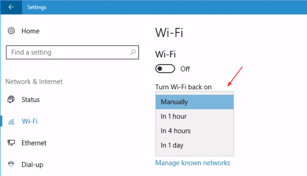 Settings Wifi off 600x343 - Windows 10 Tip: How To Schedule to Turn On WiFi Connection Automatically