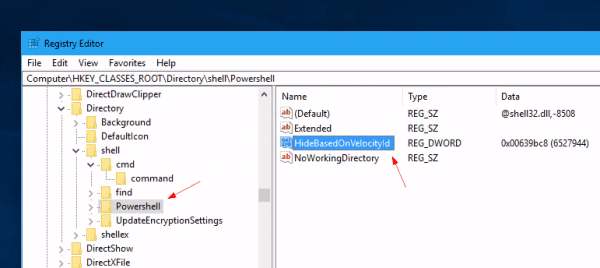 "Windows 10 registry for hide powershell window here option 600x268 - How to Bring ""Open Command Window here"" Option Back in Windows 10"