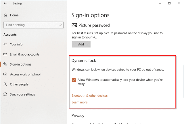 Settings Dynamic Lock - Windows 10: What is Dynamic Lock and How To Enable and Use it