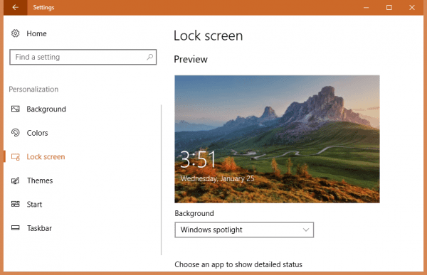 Settings Lock Screen 600x387 - How To Set Spotlight Lock Screen Image as Wallpaper on Windows 10 Desktop
