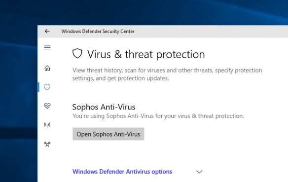 Windows Defender Security Center virus threat 3rd party app 600x379 - Windows 10 Tip: What is Windows Defender Security Center