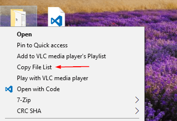 Context menu with Copy File List - Windows Tip: How To Copy A Folder's File List From Context Menu
