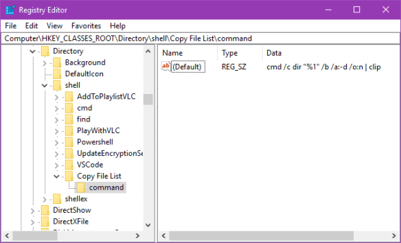 Registry Editor 2017 02 05 23 11 25 600x364 - Windows Tip: How To Copy A Folder's File List From Context Menu