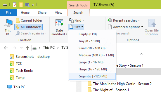 Windows 10 File Explorer Search Size options - Windows Tip: How To Search Large Files using File Explorer or Windows Explorer