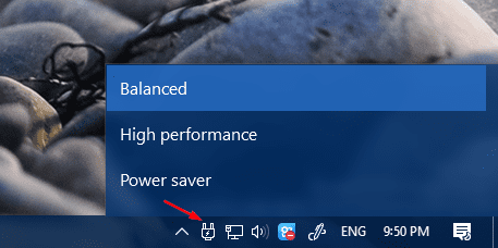 Changing the Power Plan Right from System Tray in Windows 10