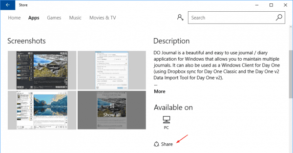 Share icon in Windows Store app page anniversary update 600x313 - Windows 10 Tip: How To Get A Link to Windows Store App