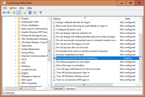 Local Group Policy Editor hide fast user switch 600x401 - Windows 10 Tip: How To Disable Fast User Switching Feature