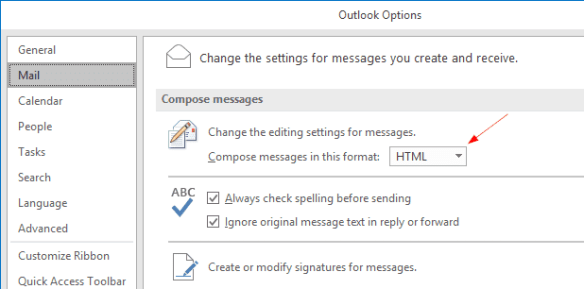 Outlook Options Mail HTML 600x297 - Outlook Tip: What To Do When Receipt Receives Winmail.dat Attachment from You