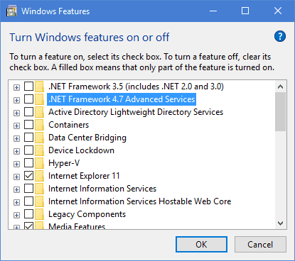 windows 10 net framework