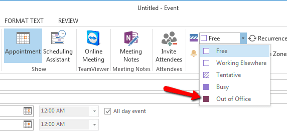 how to create outlook out of office calendar event block