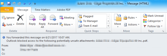 Fix Outlook Blocked Access Potential Unsafe Attachments After June