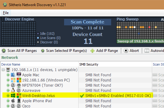 Slitheris Network Discovery v1.1.221 SMB security - Slitheris Network Discovery - Free Network Scanner for Windows