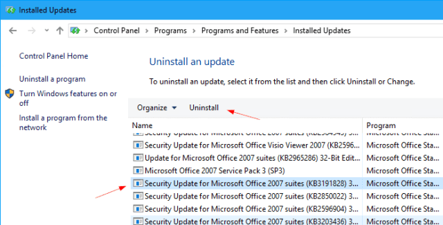 Uninstall Outlook patch - Fixing Outlook Stop Indexing and Search Result Incomplete Issue After June 2017 Updates