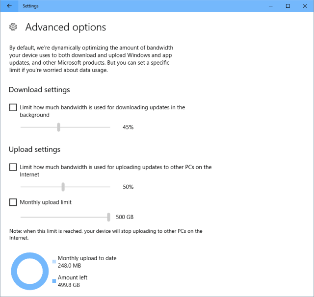 Settings Bandwidth Limit for Windows Update - Windows 10 New Feature: Limit Bandwidth for Windows Update