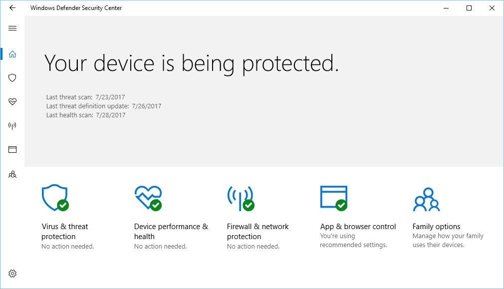 Windows Defender Security Center 2017 07 27 22 16 12 - Top 3 Free Antivirus Solutions of 2018 for Windows 10