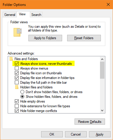 Folder Options - always show icons