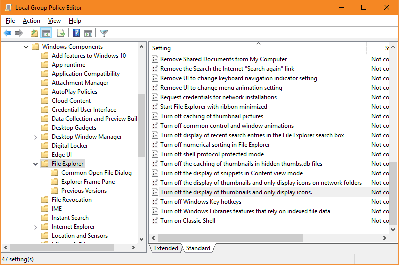 Group Policy - disable image preview thumbnails