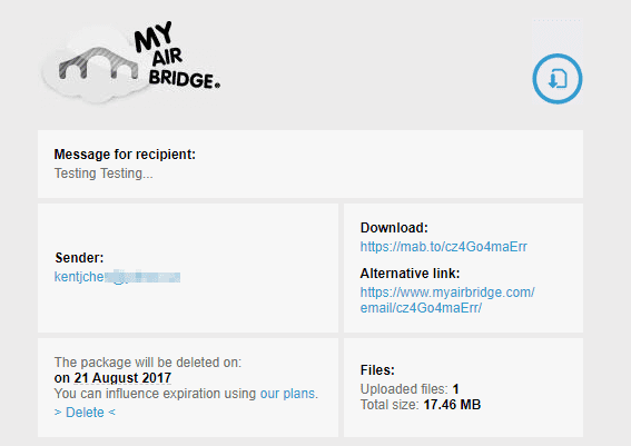 MyAirBride email format - Sending and Sharing Files Up to 20 GB with MyAirBridge