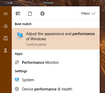 Start menu - search for performance