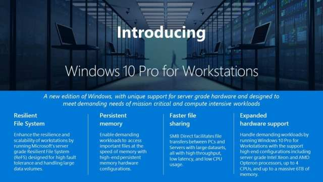 Windows 10 Pro for Workstations - Windows 10 Pro for Workstation Announced for High-Performance PCs