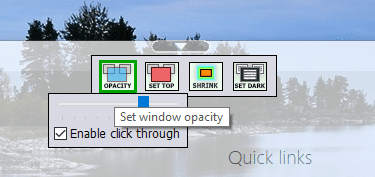 WindowsTop - control the opacity