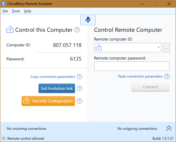 CloudBerry Remote Assistant - main window