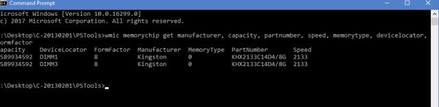 WMIC - memory info