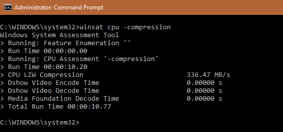WinSAT cpu -compression