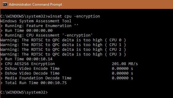 WinSAT cpu -encryption
