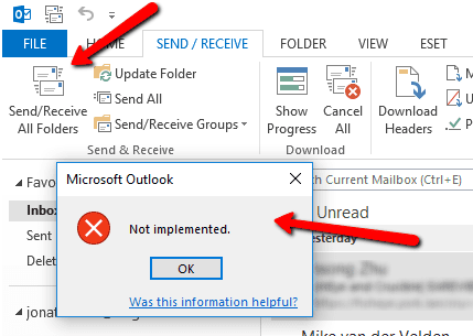 "2017 11 28 1614 1 - Troubleshoot Outlook ""Not implemented"" Unable to Send Email Error"