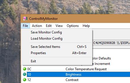 ControlMyMonitor - File menu
