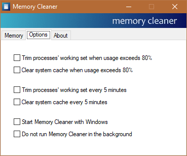 Memory Cleaner - options