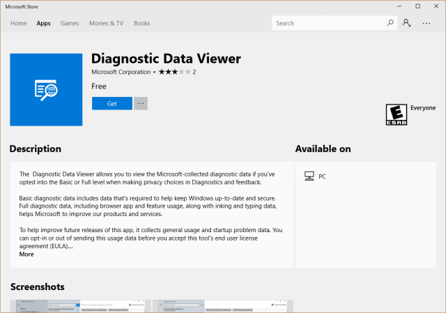 Microsoft Store - Diagnostic Data Viewer