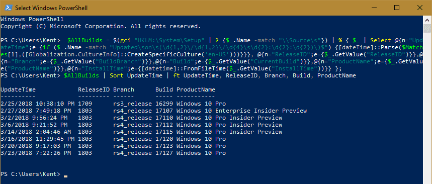 Select Windows PowerShell 2018 03 25 23 23 25 - How To List the History of Windows 10 Upgrades