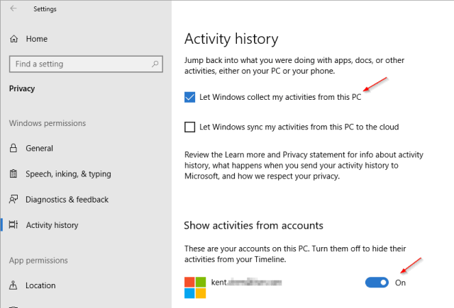 Settings Privacy Activity History - How To Enable Disable and Use Timeline on Windows 10