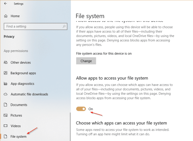 Settings Privacy individual - How To Disable App Access to File Systems on Windows 10