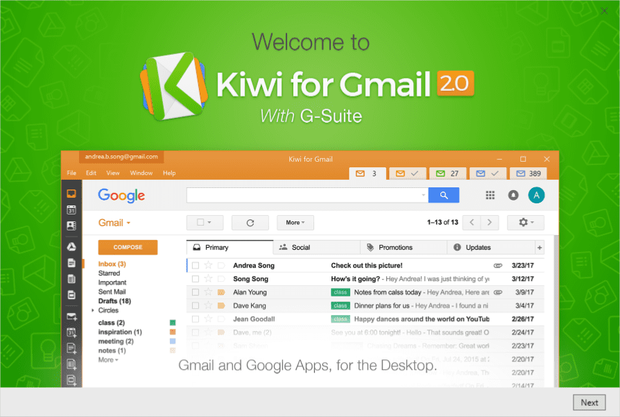 Welcome Guide Kiwi - Kiwi - A Native Desktop App for Gmail and G-Suite on Windows