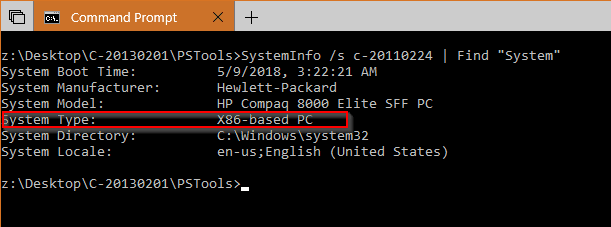 Command Prompt SystemInfo remote system - How To Tell If A Remote PC has A x64-based or x86 Processor on Windows
