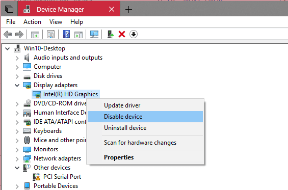 Device Manager disable display adapter - Windows 10 Tip: How To Restart Video Driver without Rebooting Computer
