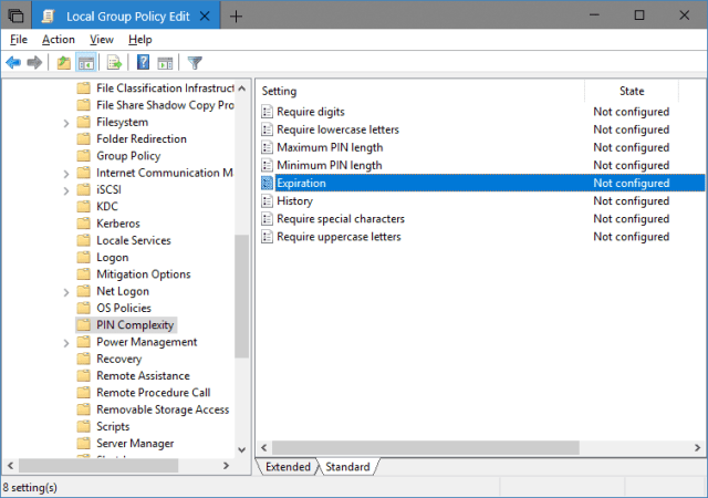 Local Group Policy Editor 2018 05 09 22 23 37 - How To Set Up PIN Complexity and Expiration in Windows 10