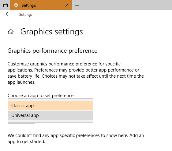 Settings System Display Graphic type of app - Windows 10 Tip: How To Set GPU Preferences Per App