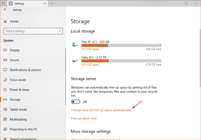 Settings System Storage change how we free up space - Automatically Make OneDrive Files On-Demand on Windows 10