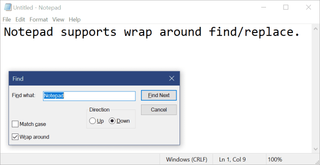 Notepad imrovement wrap around find replace - Notepad is Finally Getting some Improvements