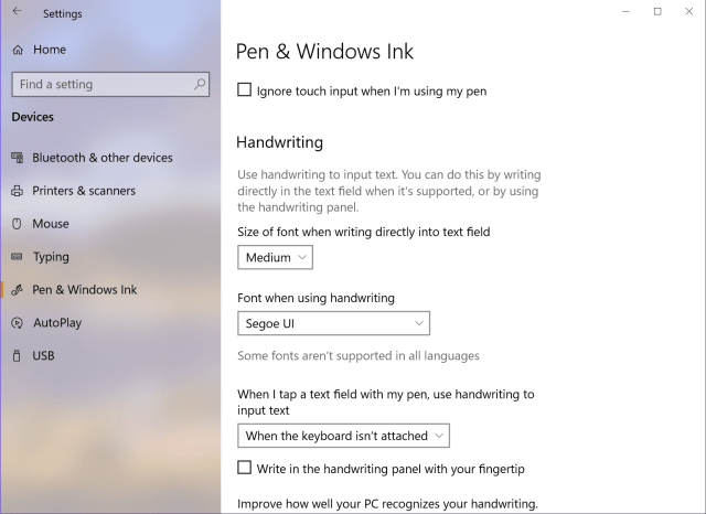 Settings Device Pen writing - Windows 10 Tip: Write Directly in Textbox using Pen
