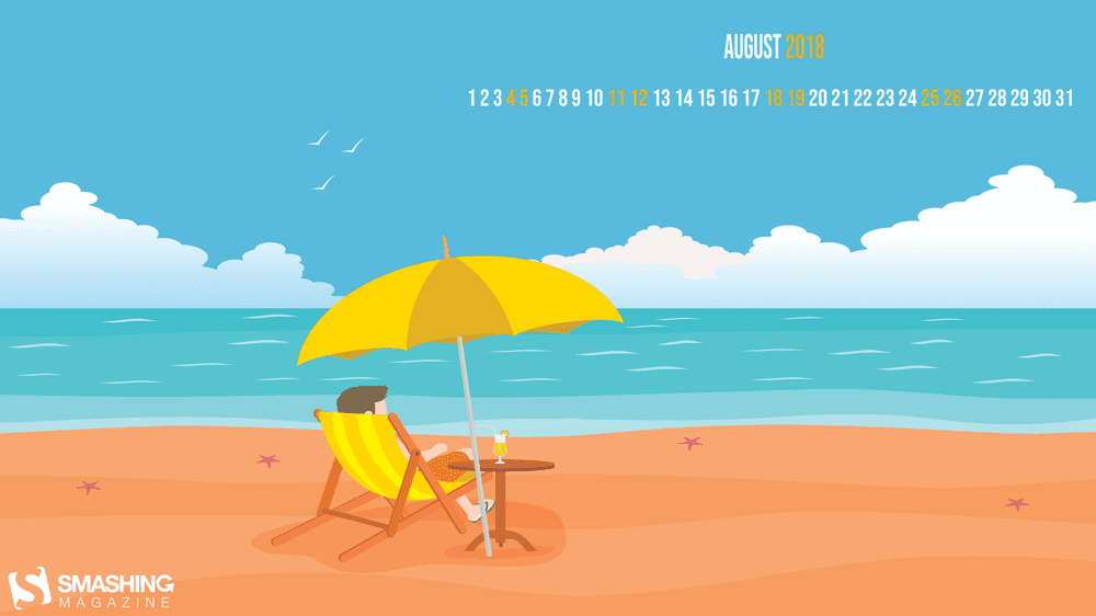 aug 18 chilling at the beach full - Download Smashing Magazine Desktop Wallpaper August 2018 Windows 7/8/10 Theme