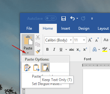 Office Paste Option - How To Copy and Paste Plain Text in Windows [Tip]