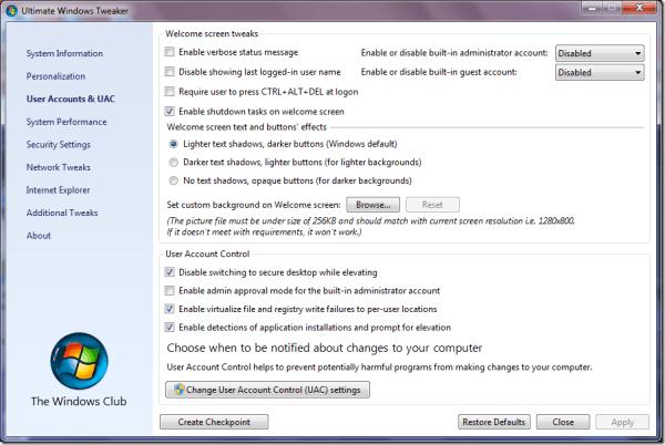 ultimate Windows Tweaker UAC