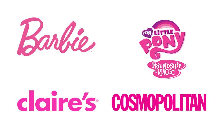 Logos de marcas en color rosa