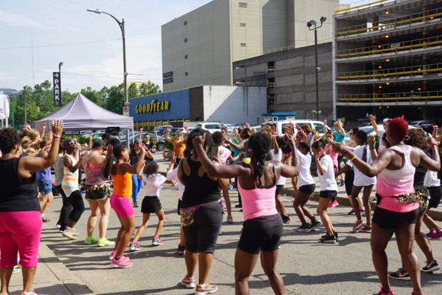 Zumba on Eighth drew lots of participants as well as spectators.
